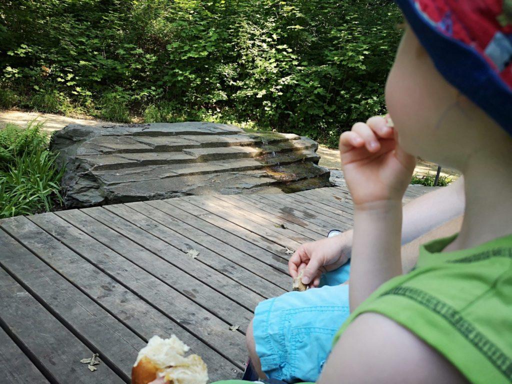 Picknick mit Blick auf eine der neuen Stationen des Wasserlehrpfads