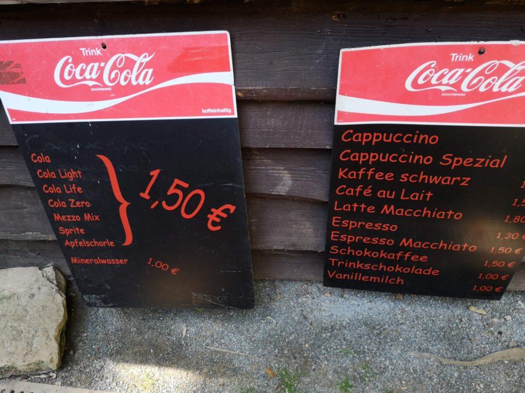Die Getränkepreise sind familienfreundlich im Waldzoo Offenbach