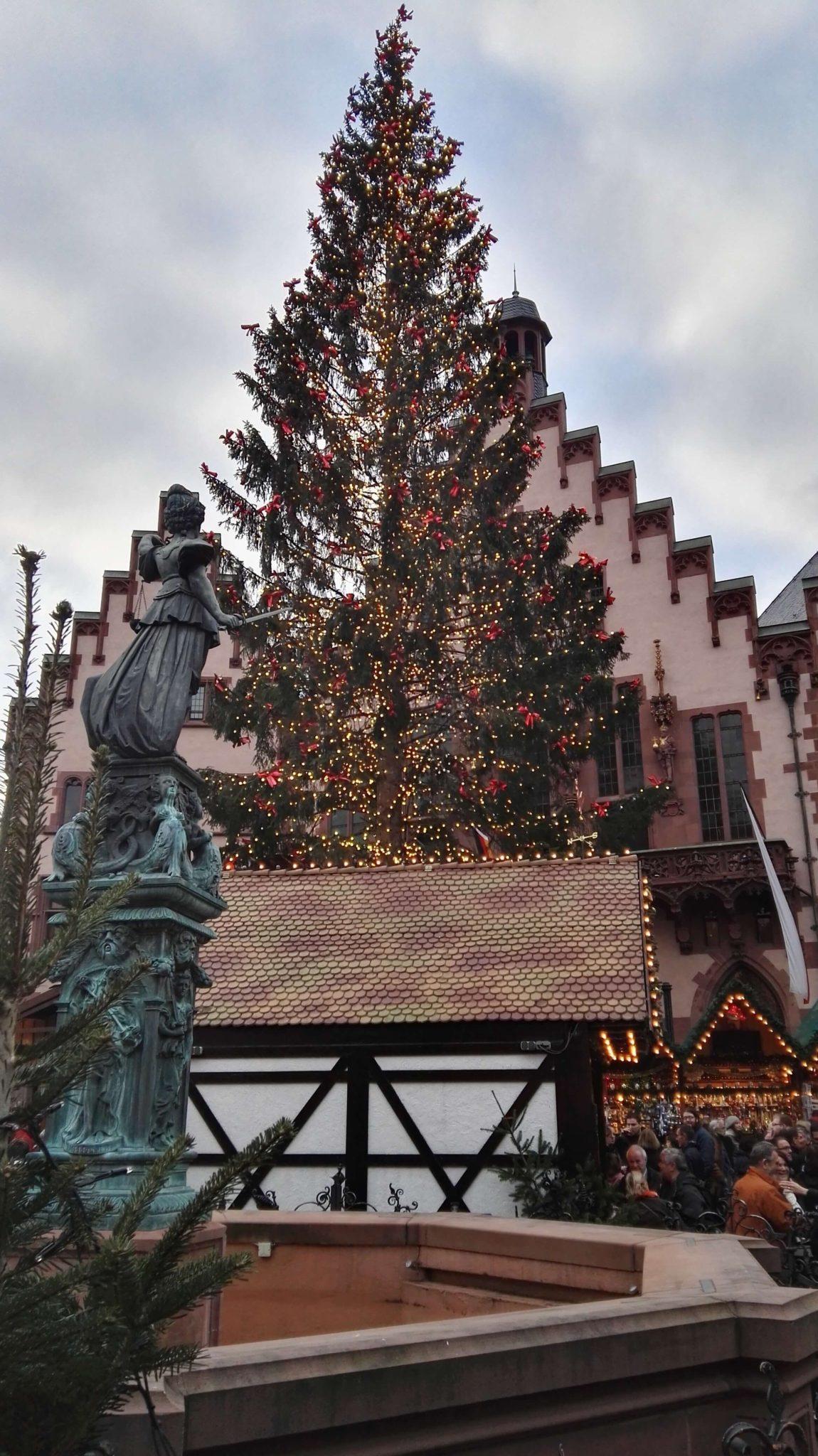 Weihnachtsbaum am Weihnachtsmarkt am Römer in Frankfurt