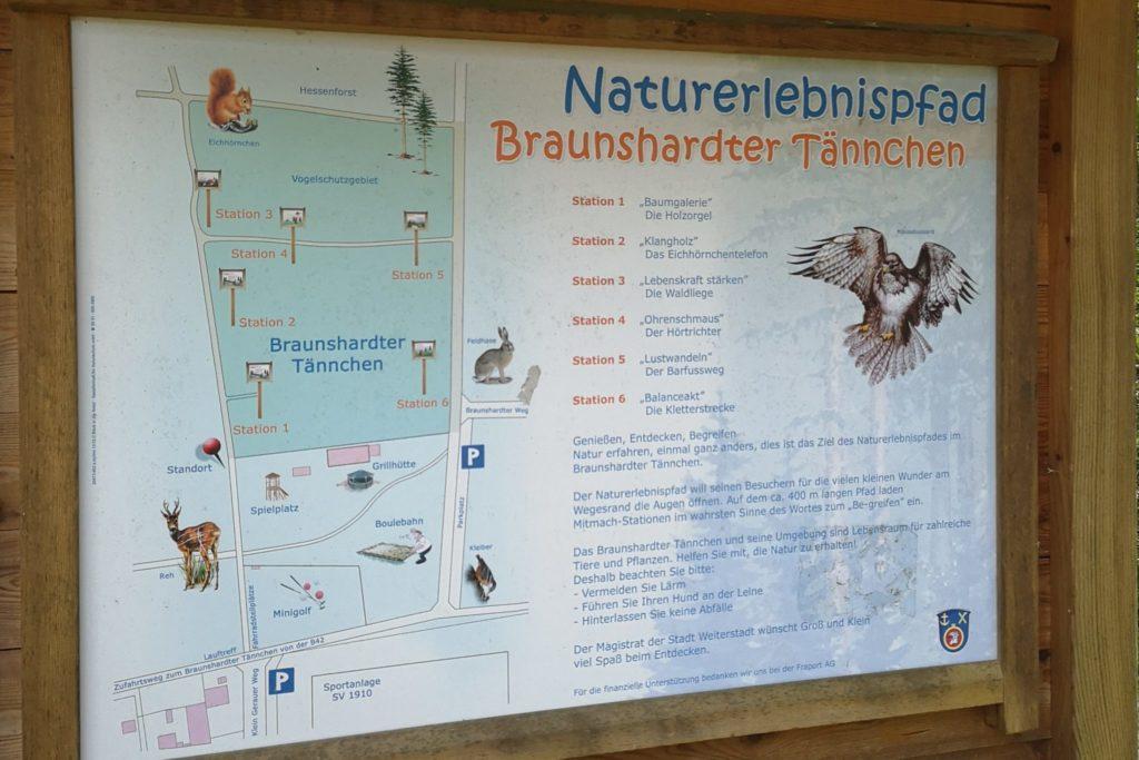 Übersichtskarte des Naturerlebnispfads im Braunshardter Tännchen