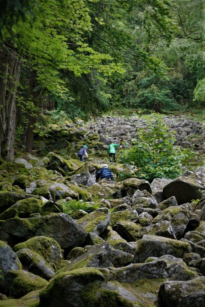 Kinder klettern kleines Felsenmeer