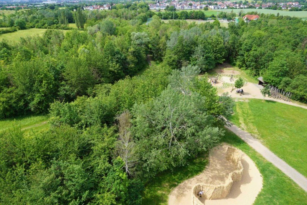 Spielplatz Weilbacher Kiesgruben von oben
