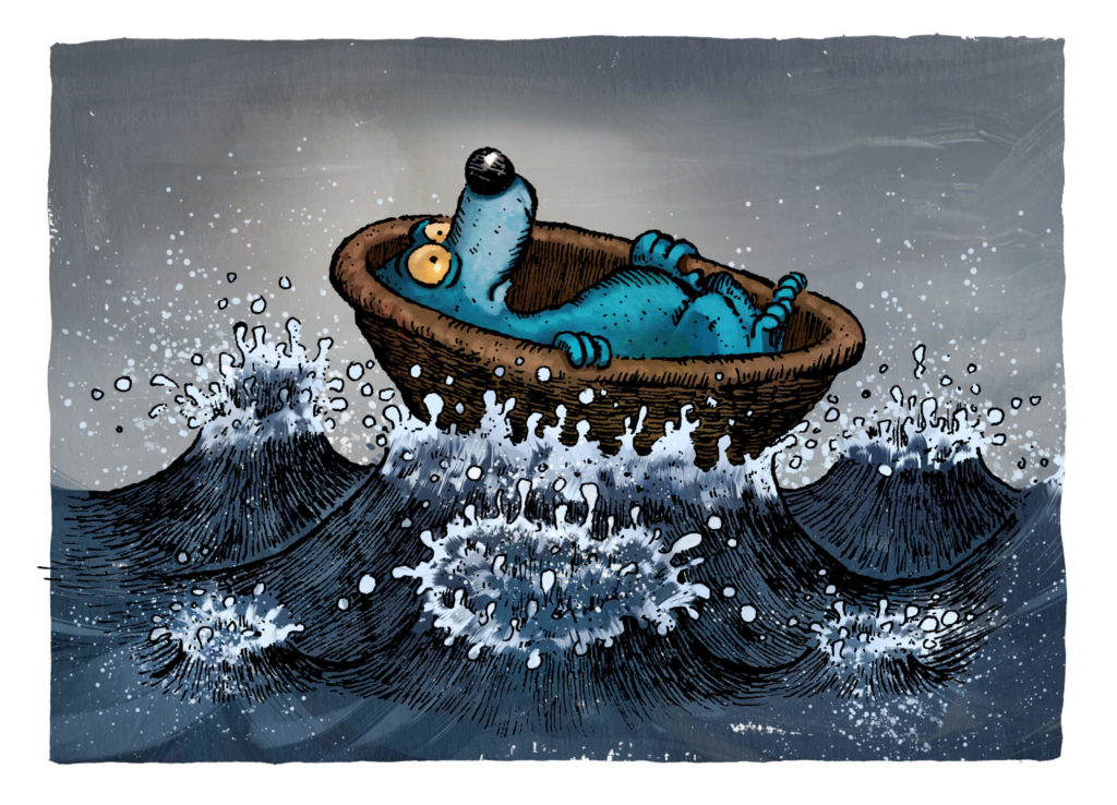 Blaubaer in Nusschale Illustration © Walter Moers