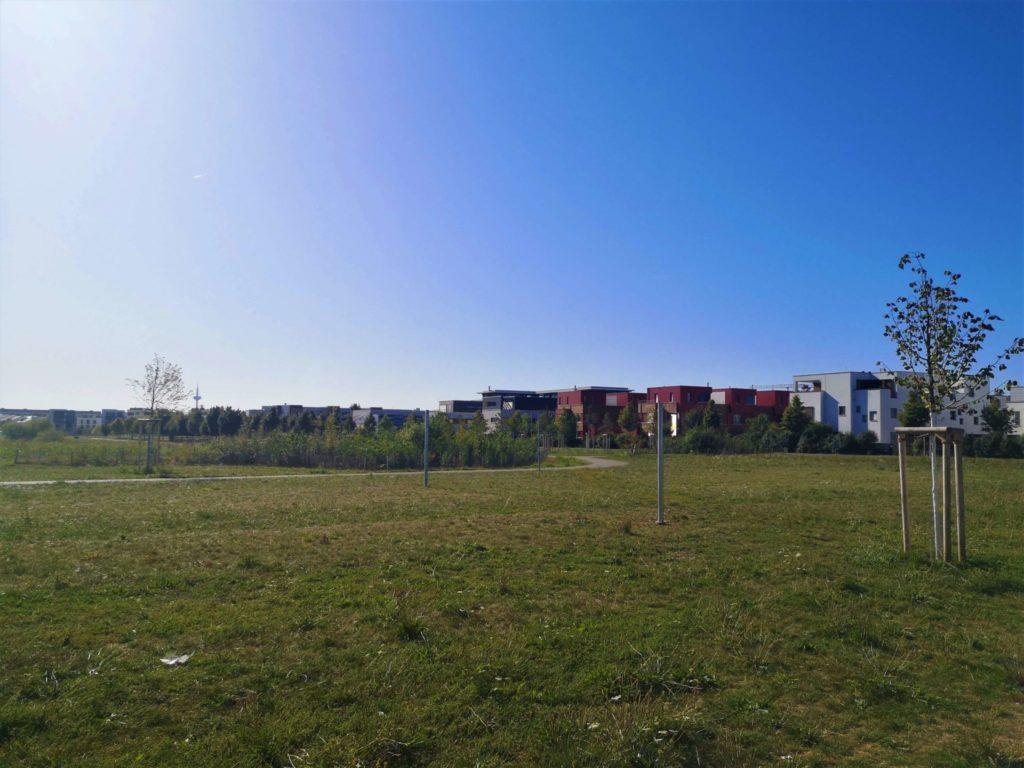 Blick vom Spielplatz mit dem Ginnheimer Spargel am Horizont