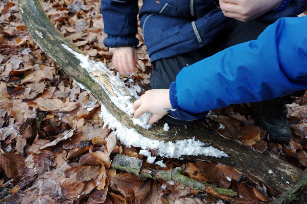 Kinder machen aus Haareis Schneebälle