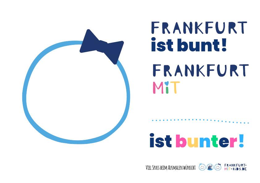 Ausmalbild Frankfurt mit Kids ist bunter