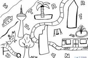 Ausmalbild und Rätselbild Frankfurt mit Kids